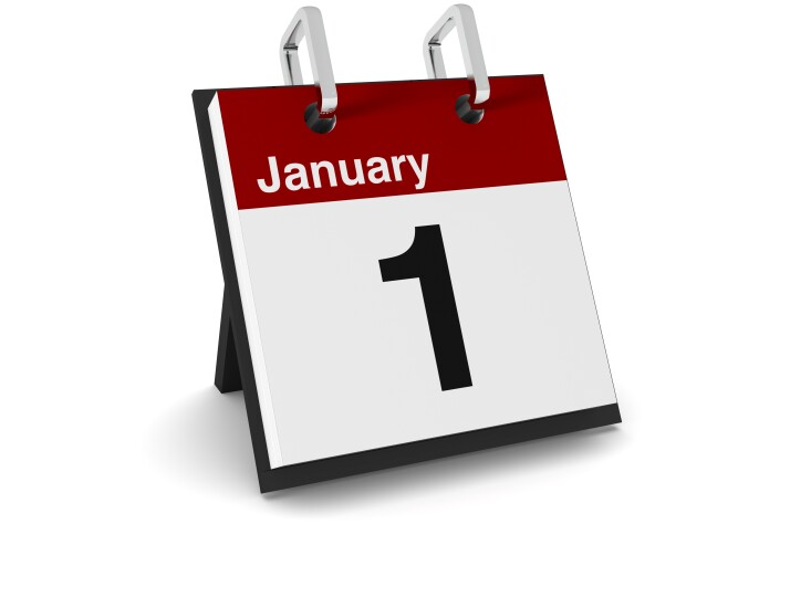 January 1 on desk calendar