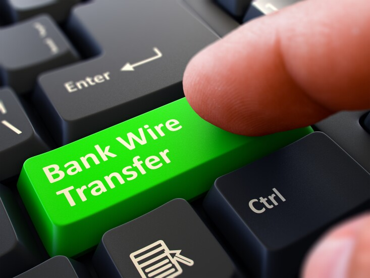 Bank wire transfer button