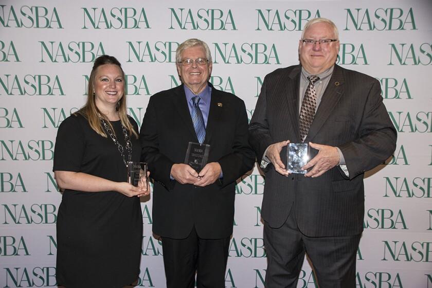 NASBA 2017 award winners (l to r): Nicole Kasin, Thomas Sadler and E. Kent Smoll
