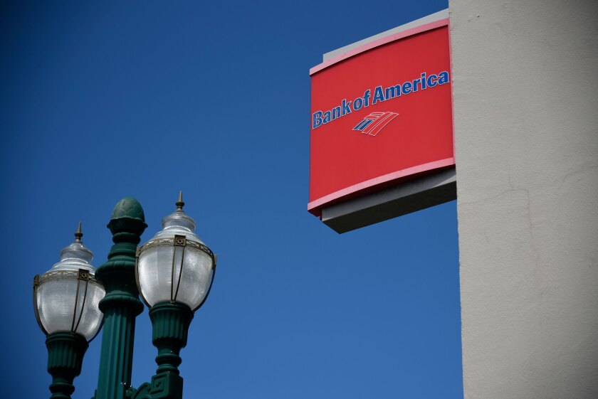 Signage is displayed outside a Bank of America branch in Alameda, California.