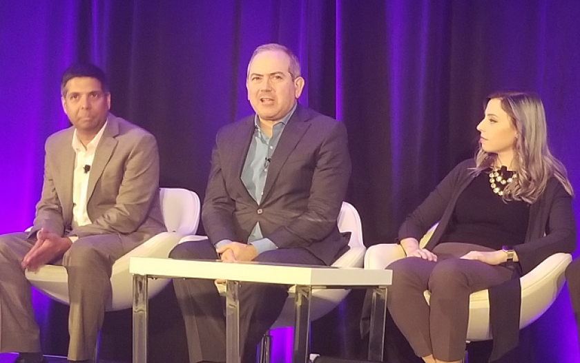 Ram Komarraju, head of innovation and solution delivery for CLS; Christopher Whalen, chaiman, Whalen Global Advisors; Amber Baldet, co-founder and CEO Clovyer